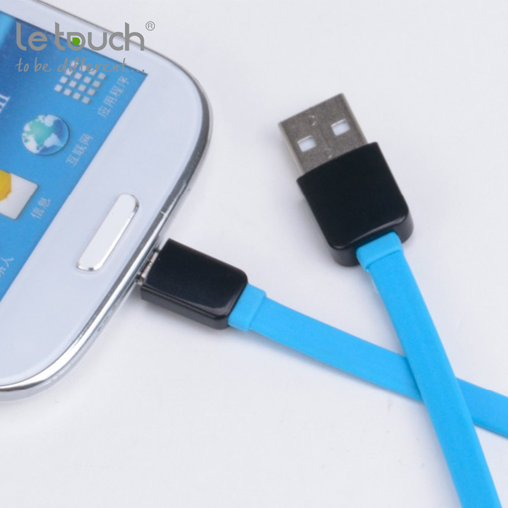 Letouch wholesale price no tangle flat waterproof usb cables micro orange usb date cord for samsung cable