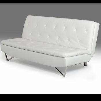 Fashion White Faux Leather Sofa Cum Bed