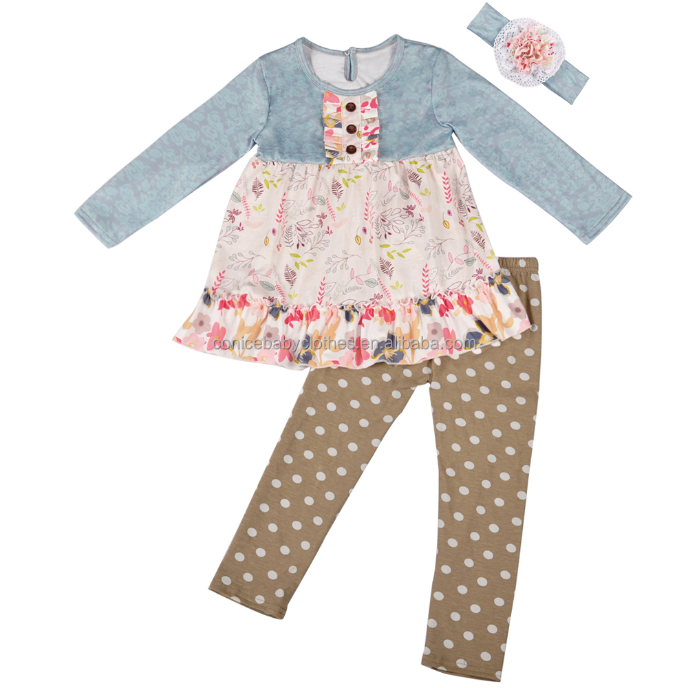 f8b3c48cd طبعة جديدة الساخن بيع فتاة الربيع الملابس الدانتيل العصابة ملابس طويلة  الأكمام ملابس الاطفال