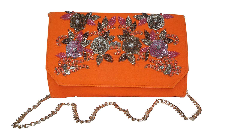 e726d07de72 Get Quotations · Spice Art Floral Zardozi Embroidered Silk Clutch for Ladies