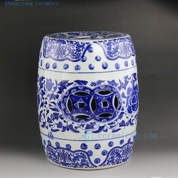 ceramic garden seat. ryir107 chinese blue white ceramic garden seat floral design 3 sizes l