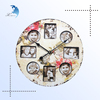 Customized made brand logo decorate wooden printing wall clock