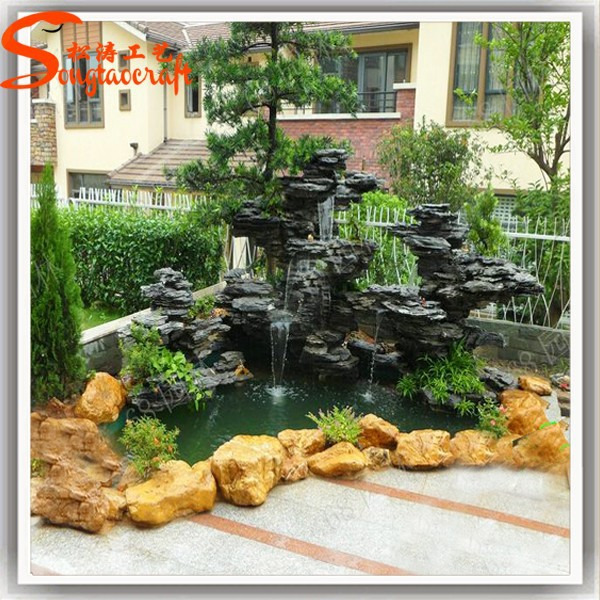 China outdoor fibra de vidrio piedra de rocalla artificial for Artificial fish pond