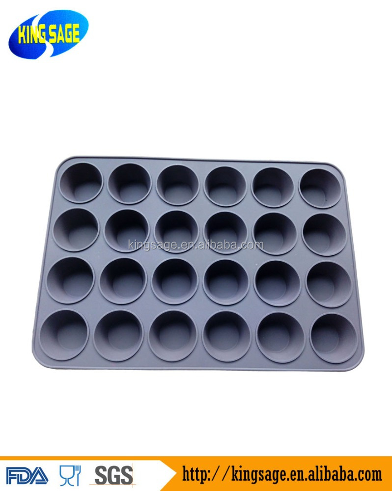 24 Cup <strong>Silicone</strong> Mini Muffin/Cupcake Pan mold Non-stick, BPA-free, Dishwasher Friendly, FDA Approved 100% Food Grade <strong>Silicone</strong>