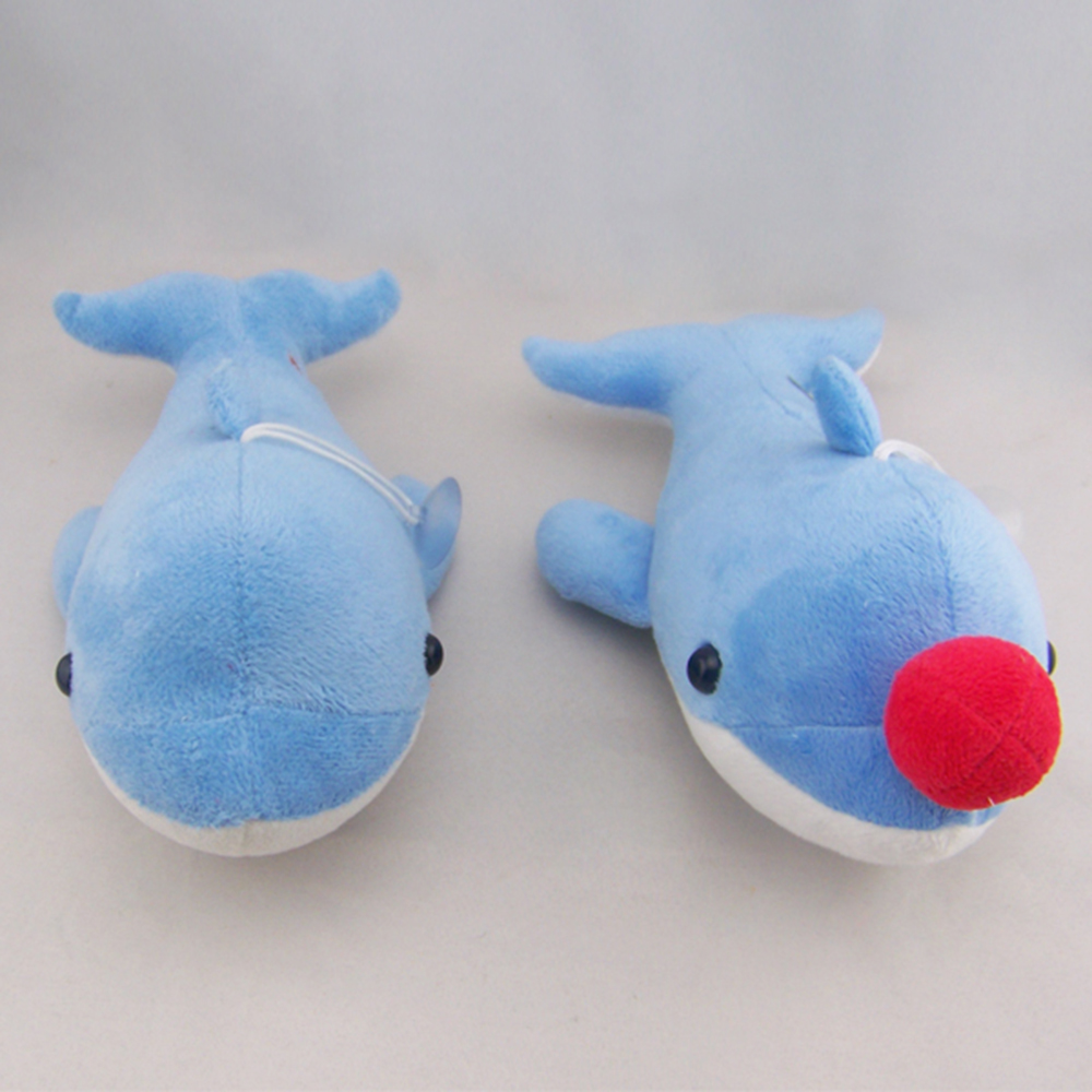 Fashion design new style stuffed animal toy, plush blue dolphin keychain with red ball in mouth