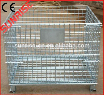 Cheap Wire Mesh Rolling Container Folding Metal Grid Storage Cubes