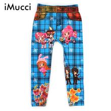 iMucci Cute Cartoon Children Leggings Girl Pantyhose Boy Trousers Digital Painted Kids Pants Blue Black Floral