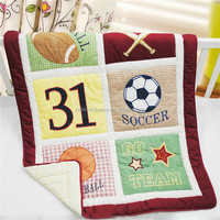 Sports printing cotton American style baby quilt for boy