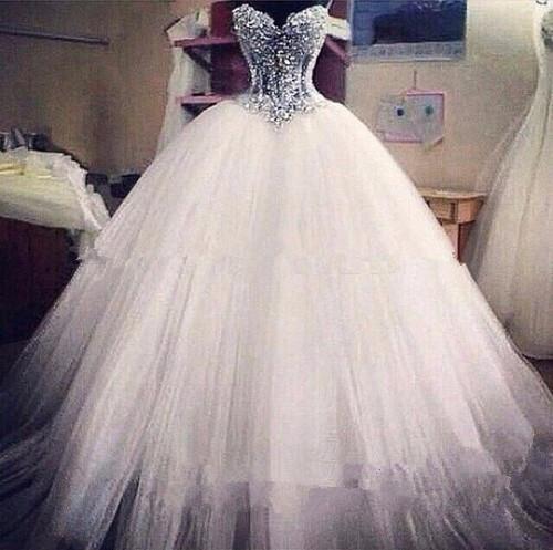 New NE009 Luxe Bling Strapless trouwjurken Corset Lijfje Sheer Bridal  @LE24