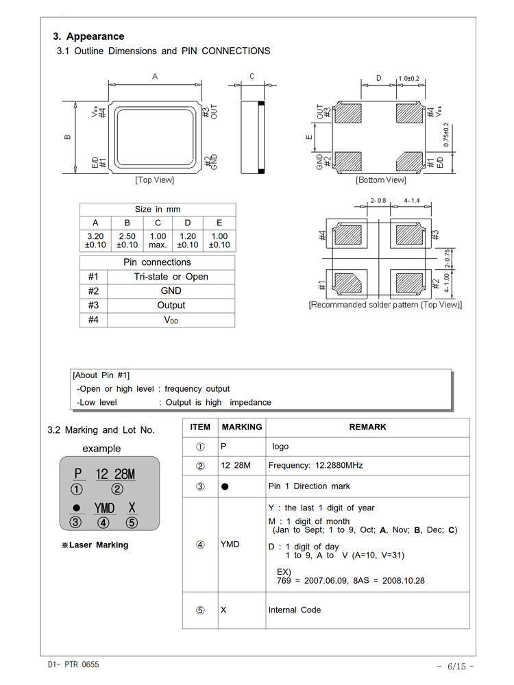 คริสตัล oscillator 3225 24.576 เมกะเฮิร์ตซ์ 1.8 โวลต์ ~ 5 โวลต์ 15PF 50PPM