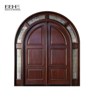 Modern interior wooden double safety door round designs