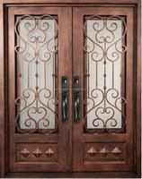 GYD-15D0335 Customize Wrought Iron Double Entry Door Front Door Design