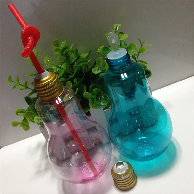 ovelty design lamp bulb shape 100ml /150ml/ 200ml /300ml capacity beverage plastic bottle for juice packaging