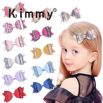 4 Inch gold Glitter PU Wedding Hair Bows Boutique Hair Clips  for baby girls teen  Multi Color