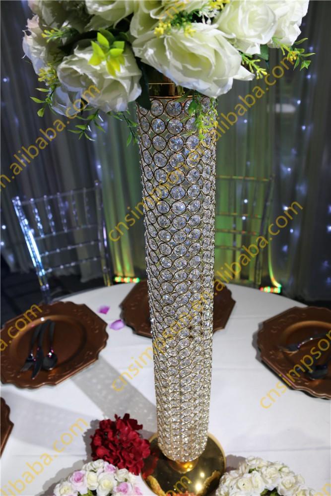 Golden Crystal Beaded Pillar Crystal Vases For Wedding Centerpieces Buy Decoration Crystal