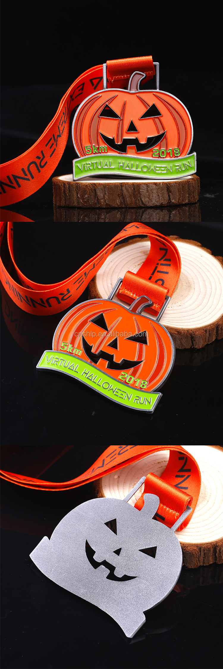 Promotional Factory making cheap Halloween metal holiday running medals