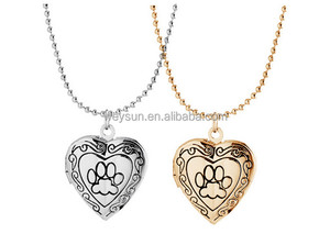 Valentine Lover Gift Animal Dog Paw Print Photo Frames Can Open Locket Necklaces Heart Pendants fit Necklace Women