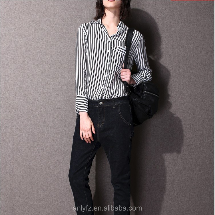 hot selling delicate clipping designed classical stripes long sleeve single-breasted slim shirt for women