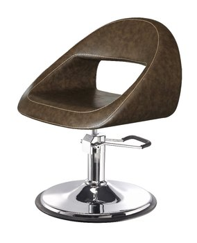 Brown Circle Base Styling Chair Hemisphere Shape Salon Barber Furniture