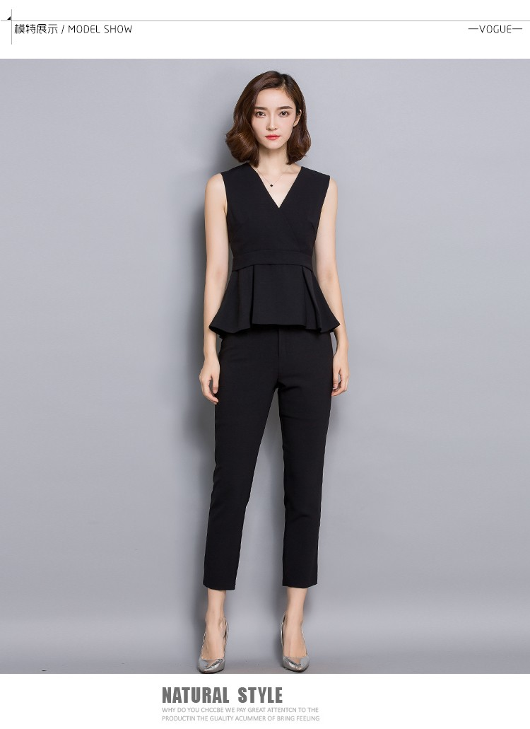 New arrival top and pant v neck sleeveless women casual suit OEM ODM  guangzhou manufacturer 2d4b8e05c