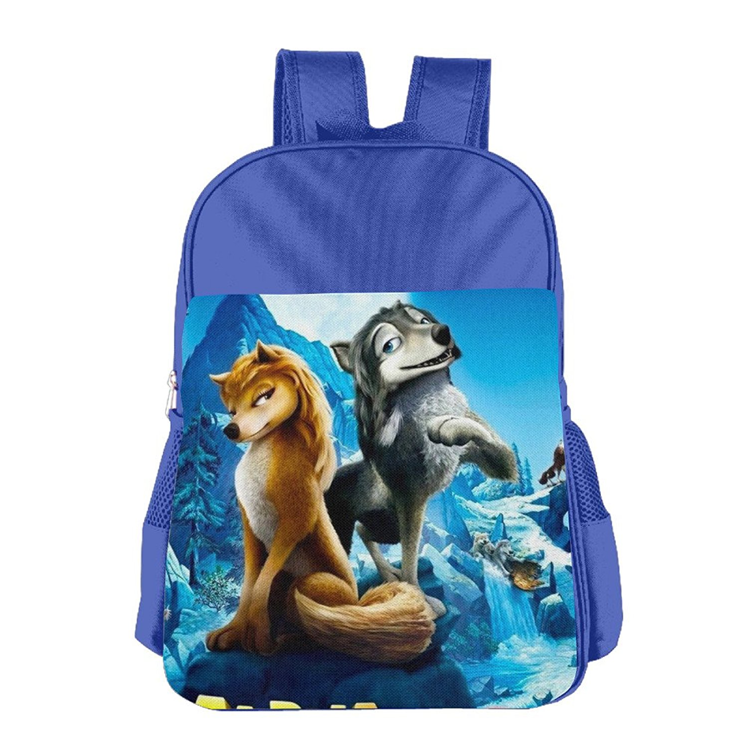 The-Great-Wolf-Games-Alpha-and-Omega-3-logo Kids School Bagpack Bag RoyalBlue