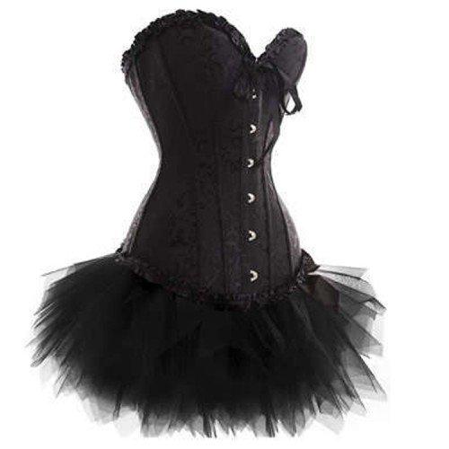 5bd0e6c88bc Get Quotations · Black Satin Burlesque Fancy Dress set Corset Top and Black  Tutu Skirt
