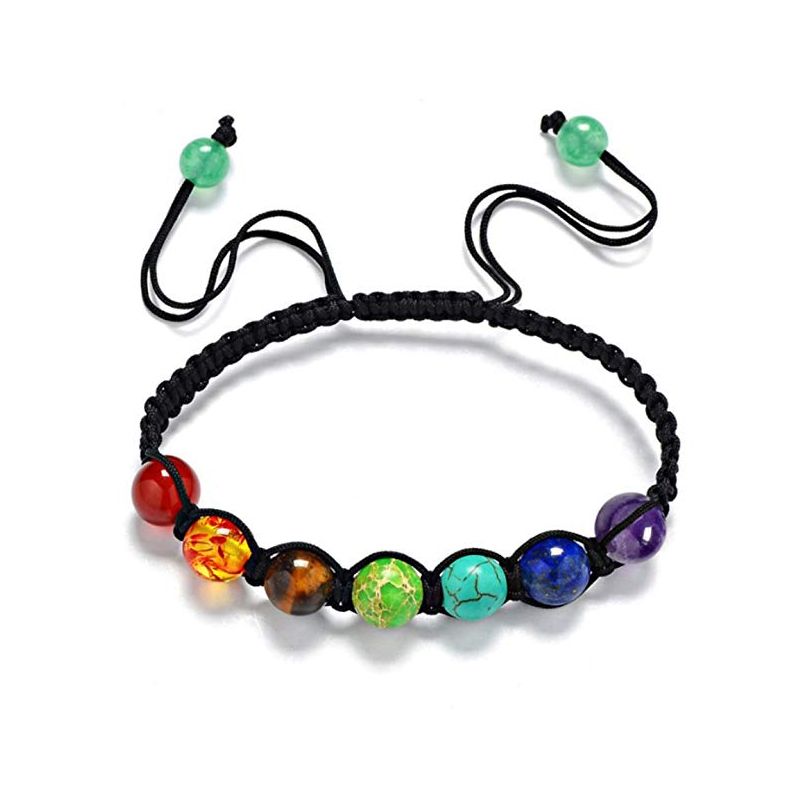 Chakra healing yoga elastic bracelet with antique silver heart charm