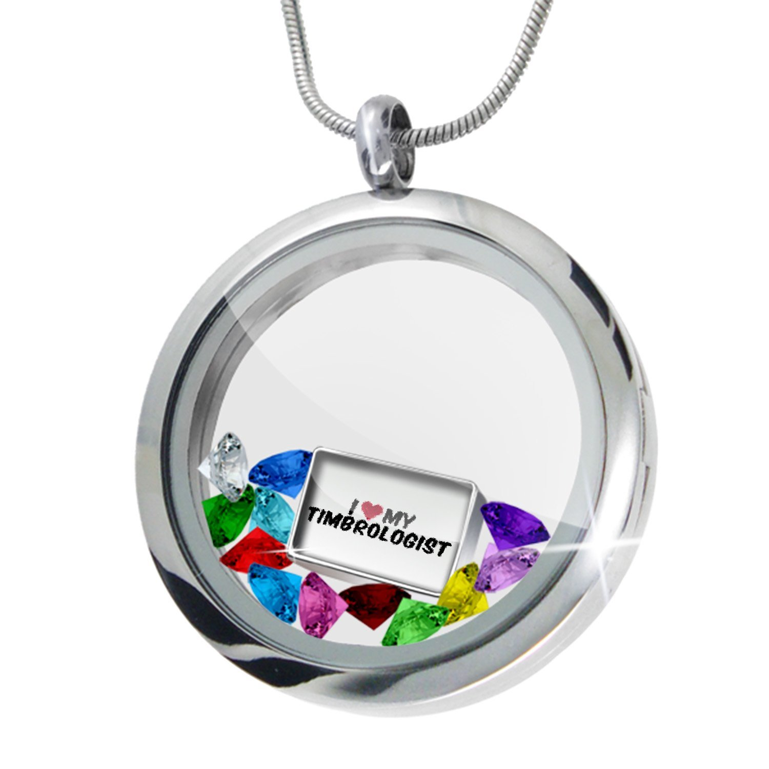 NEONBLOND Floating Locket Set I Heart Love My Timbrologist