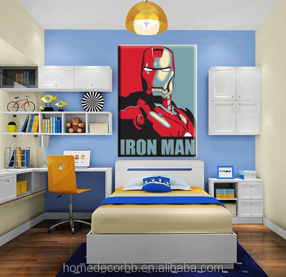 Iron Man Cartoon Poster Sample Picture Of Canvas Painting For Kids Bedroom Decorative Giclee Wall Art Printed Custom