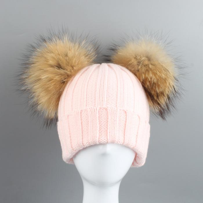650db1ea61eb9b Fashion Winter Children Knied Hat With 2 Plush Balls Fur Pompoms Keep Warm  Cap Boys Girls Beanie Hats XRQ88