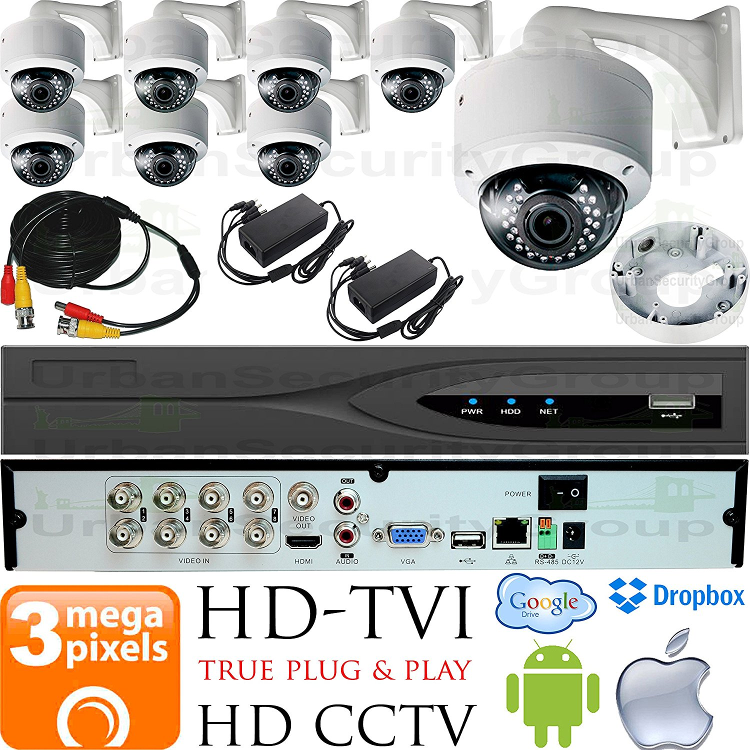 USG Business Grade 3MP HD-TVI 8 Camera CCTV Kit : 8x 2.8-12mm Dome Cameras with Wall Mount Brackets & Deep Base + 1x 8 Channel 3MP DVR + 1x 4TB HDD + 8x 100ft CCTV Cable + 2x 4 Channel Power Supply