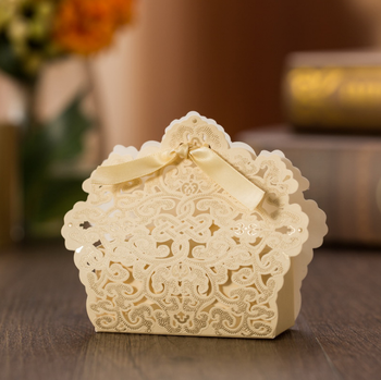 Hot stamping European style champagne gold wedding candy box for sale