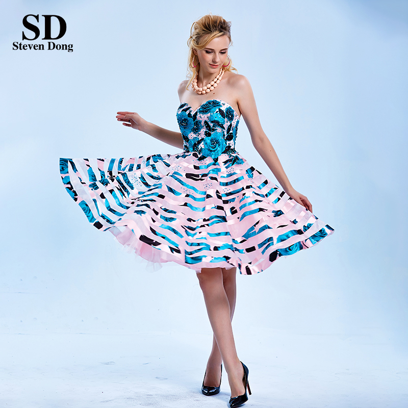 526a2553c78 Designer Prom Evening Party Floral Rose Satin Printed Homecoming Dresses  Knee Length Short Prom Dress