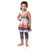 2016 wholesale baby girl outfit picture of pant and shirt baby clothes manufacturers black dot with floral tank top