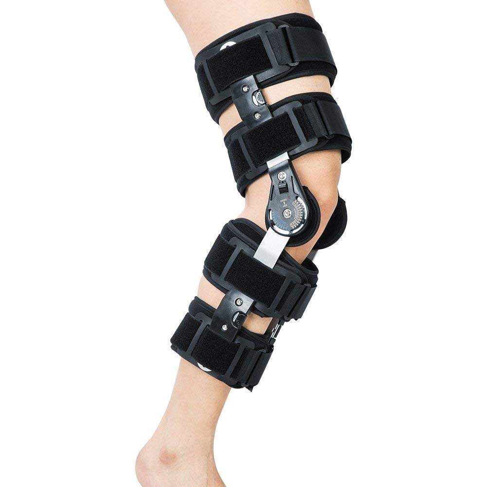 8d843a6442 Get Quotations · Hinged ROM Knee Brace, Adjustable Patella Injury  Stabilization Strap - Post Operative Immobilization Knee Support