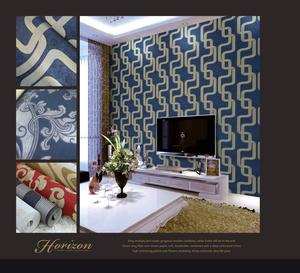 Modern Geometric Pattern Wall Tv Cabinet Wallpaper Design
