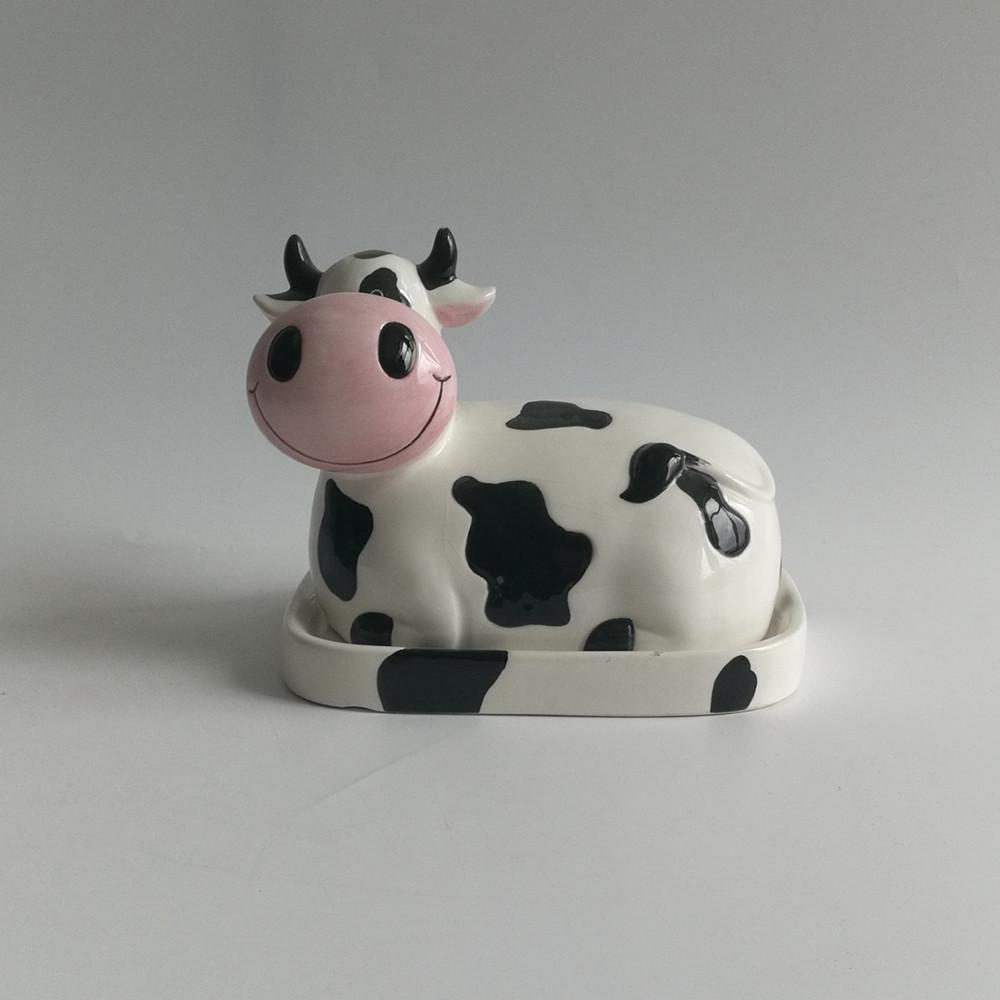 Holstein Animal Design Cow Ceramic Figural Lidded ceram enamel Butter Dish