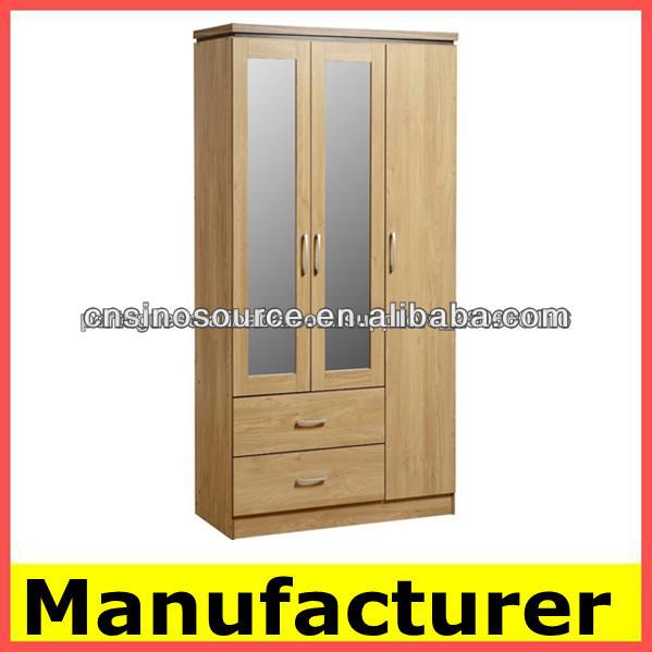 Con espejo de madera de armarios dormitorio armario mueble for Modelos de closets para dormitorios
