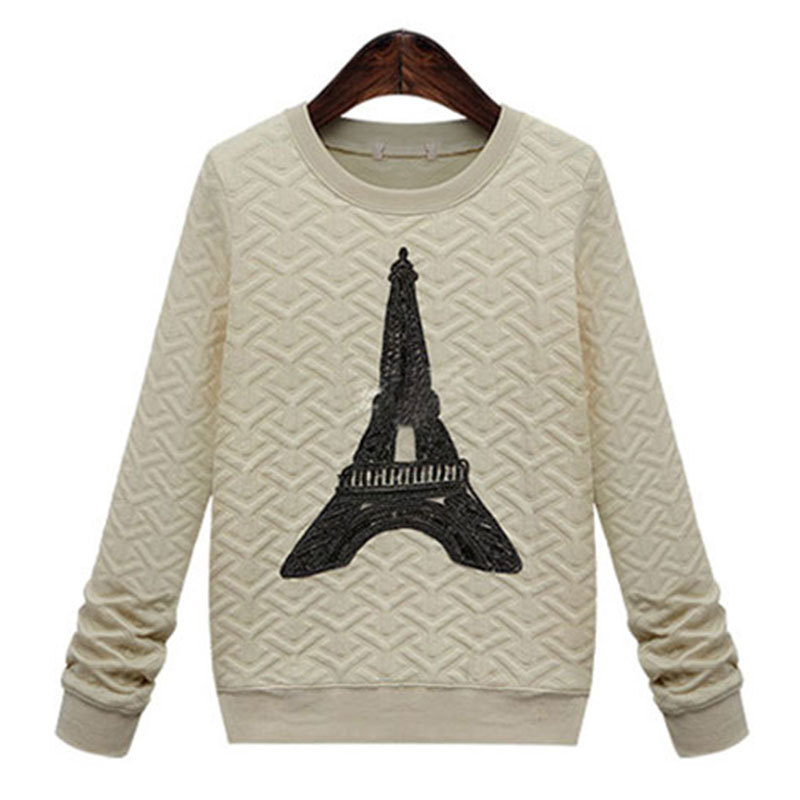 2015 New Women Fashion Sport Hoodies Spring Autumn Iron Tower Print Black Paris Sweatshirt Pullover Plus Size S-XL Hot Sale