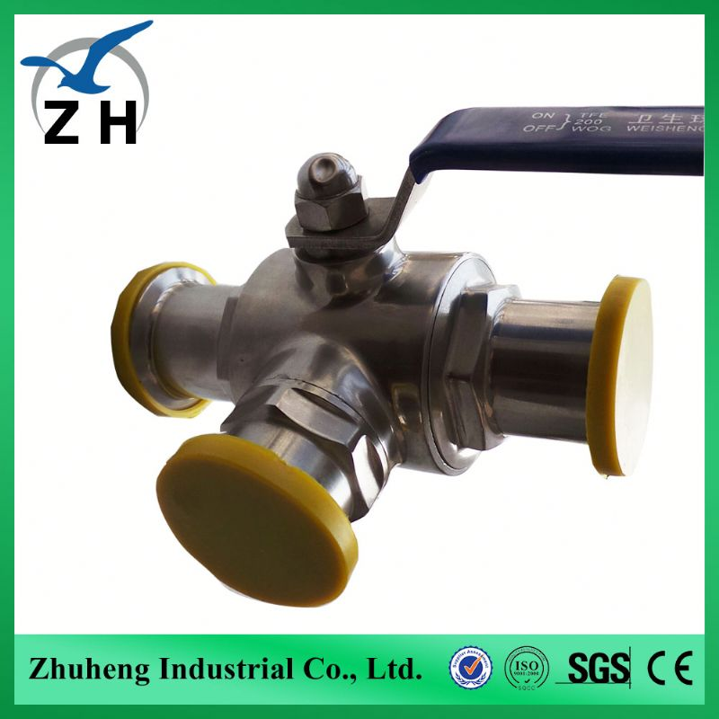 foode grade High quality sanitary 3 way ball valve motorized ball valve three way ball valve