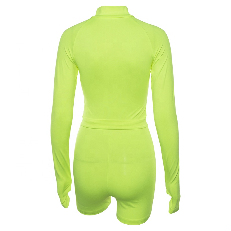 2018 New women's  neon  one-piece tight romper  ladies long sleeves  jumpsuits yoga Sports jumpsuit