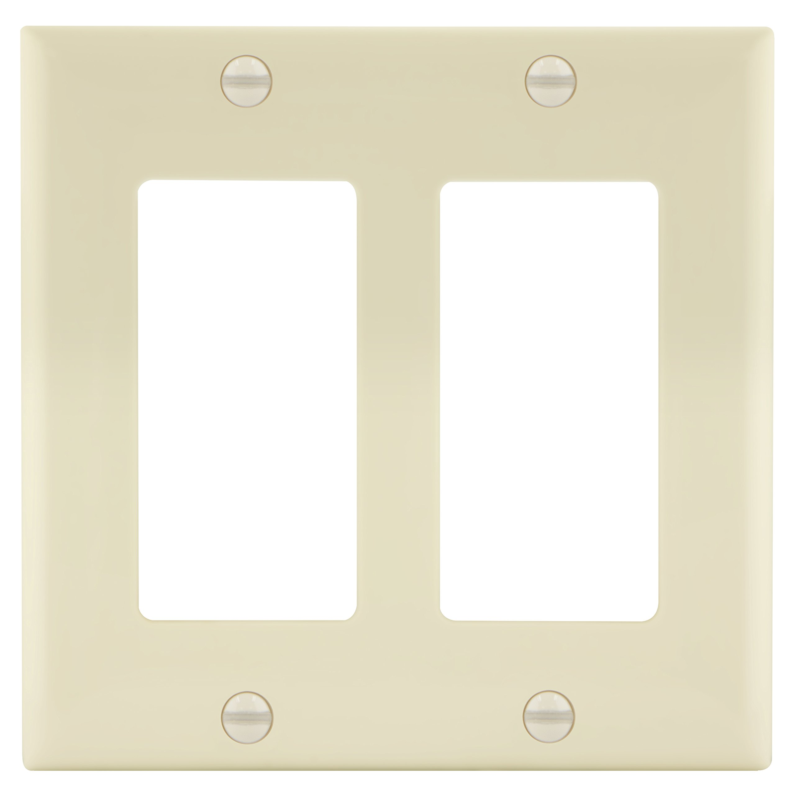 Enerlites 8832-LA Decorator Light Switch/Receptacle Outlet Wall Plate, Standard Size 2-Gang, Polycarbonate Thermoplastic, Light Almond