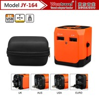 JY-164 new design international adapter uk to european plug dual usb wall charger