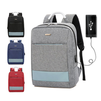 2018 new arrival high quality trendy plain ergonomic usb port school student backpack bags for boys