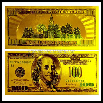 Gold Foil 24k Pure Banknotes Us Dollar Currency Two Sided Fake Banknote Security Printing