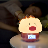 Colorful table bed digital rechargeable mini usb led alarm clock pig lampe wholesale wake up light baby with temperature