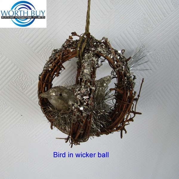 Glass bird decorated natural rattan balls for Christmas decoration