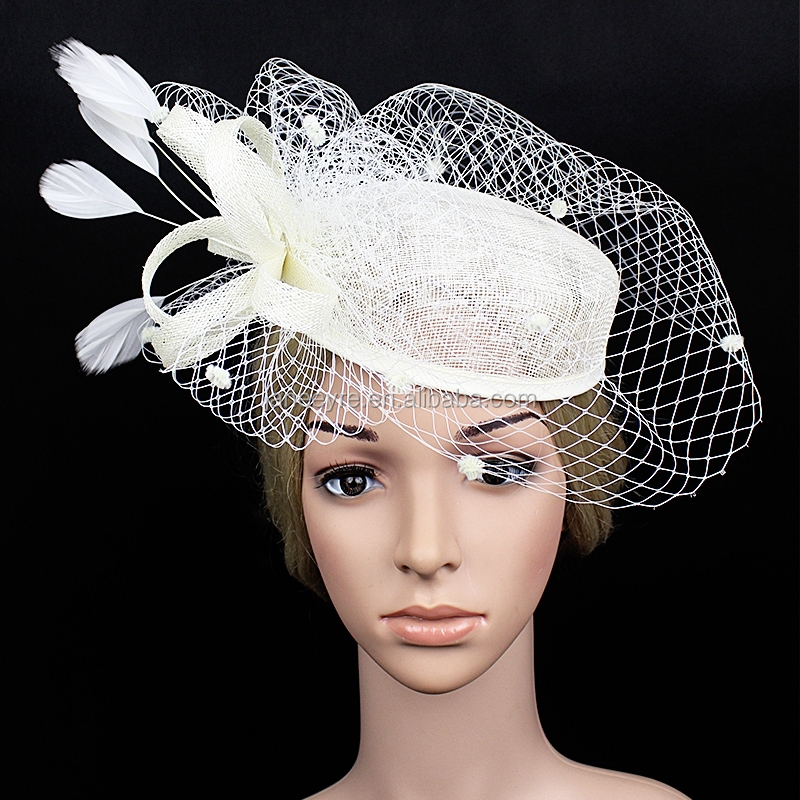 e60a1aa565f0c New Design Fashion Fascinator Birdcage Veil Sinamay Plain Church hat With  Feather