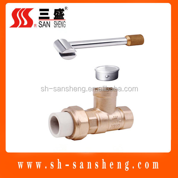 ball valve with lock key brass aluminum handle full port flow water