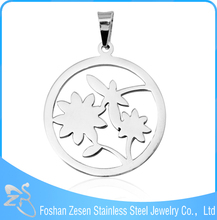 High Quality Low Cost 316L Stainless Steel Pendant a Dragonfly Landed on Flower Shape Pendant